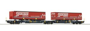 Roco 76428 Wascosa Articulated Pocket Wagon, Gruber Logistics Trailers x2